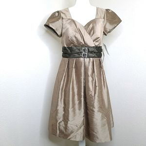 NW COLLECTIONS DRESS FORMAL A LINE TAUPE BRONZE 12